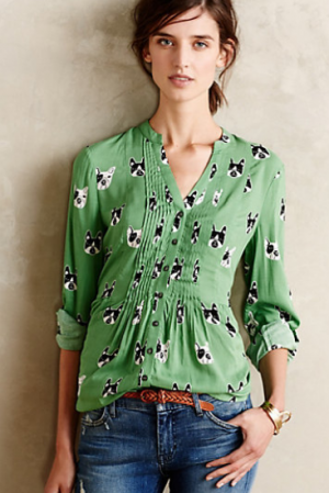 green shirt anthopologie