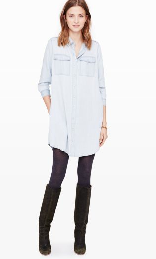 A shirt dress is another new mum staple. This light denim one from clubmonaco.com costs $198.50, but you can get them for less from H&M.