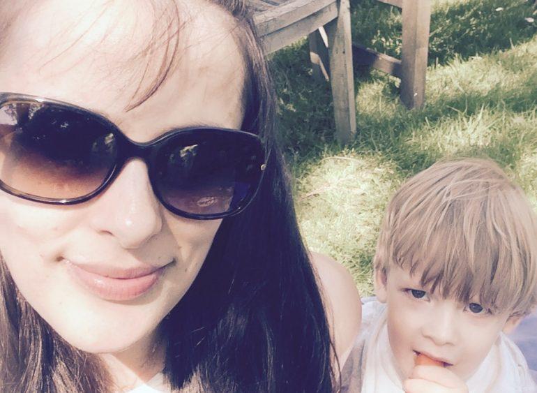 Aurora with her son