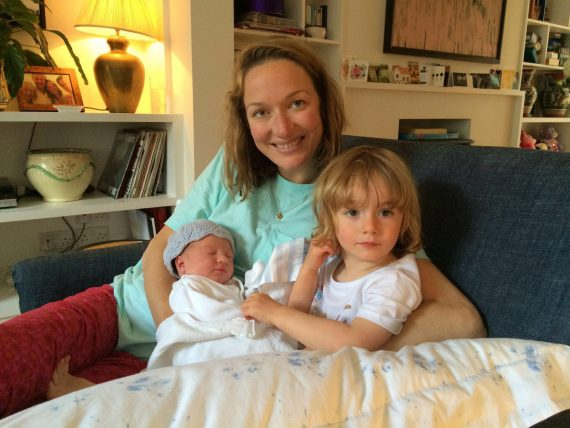 Emily Jenkinson with her two children